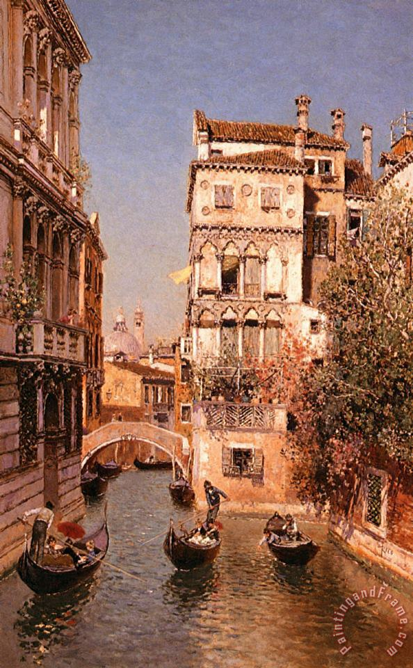 Along The Canal, Venice painting - Martin Rico y Ortega Along The Canal, Venice Art Print