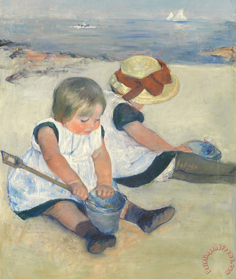 Children Playing On The Beach painting - Mary Stevenson Cassatt Children Playing On The Beach Art Print