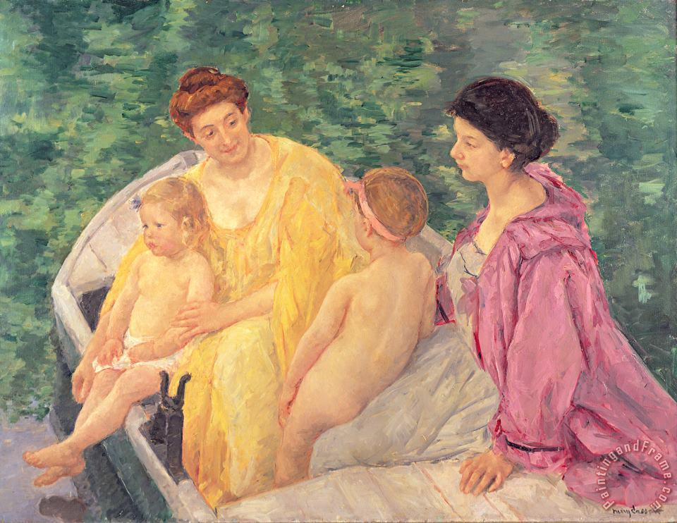 Mary Stevenson Cassatt The Swim or Two Mothers and Their Children on a Boat Art Print