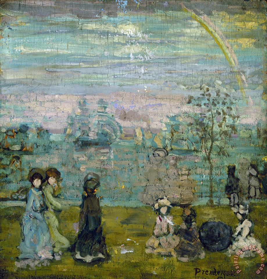 Promenade with Parasols painting - Maurice Brazil Prendergast Promenade with Parasols Art Print