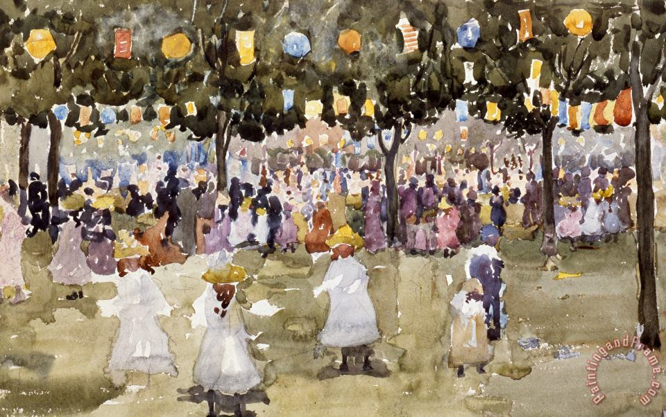 Central Park New York City July Fourth painting - Maurice Prendergast Central Park New York City July Fourth Art Print