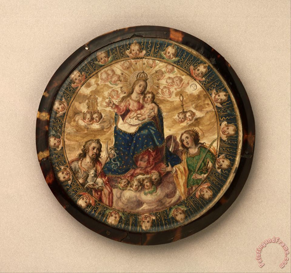 Nun's Shield Showing The Virgin And Child with Saints John The Baptist And Catherine of Alexandria painting - Mexican Attributed to Andres Lagarto Nun's Shield Showing The Virgin And Child with Saints John The Baptist And Catherine of Alexandria Art Print