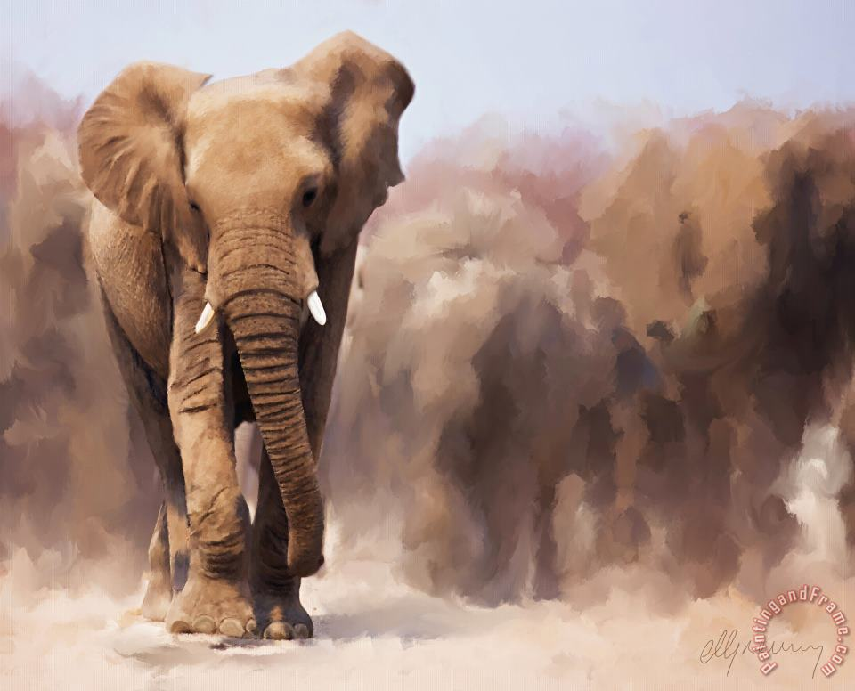 Elephant Painting painting - Michael Greenaway Elephant Painting Art Print