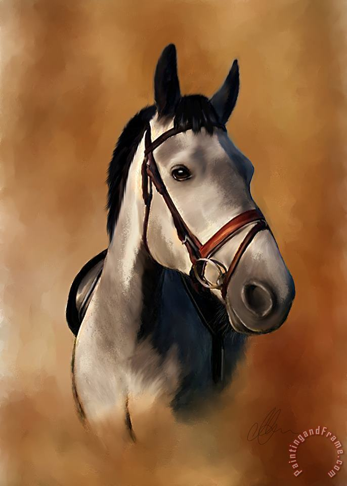 Horse Portrait painting - Michael Greenaway Horse Portrait Art Print