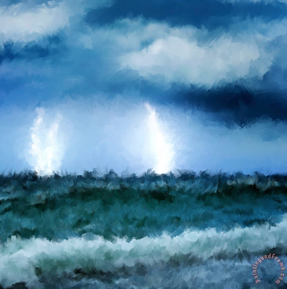 Thunder and lightning at sea painting - Michael Greenaway Thunder and lightning at sea Art Print