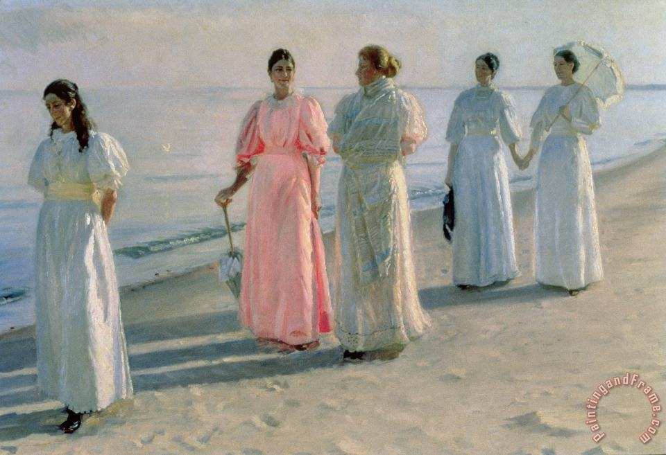 Promenade on the Beach painting - Michael Peter Ancher Promenade on the Beach Art Print