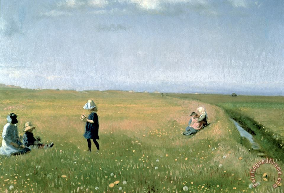 Michael Peter Ancher Young Girls picking Flowers in a Meadow Art Painting