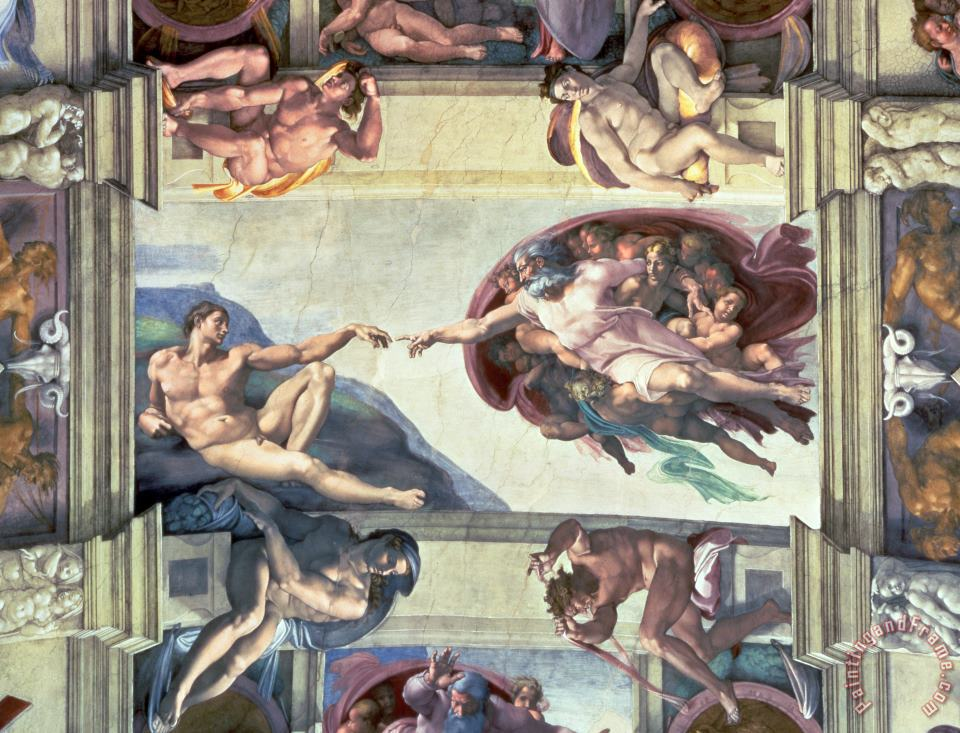 Sistine Chapel Ceiling Creation of Adam painting - Michelangelo Sistine Chapel Ceiling Creation of Adam Art Print