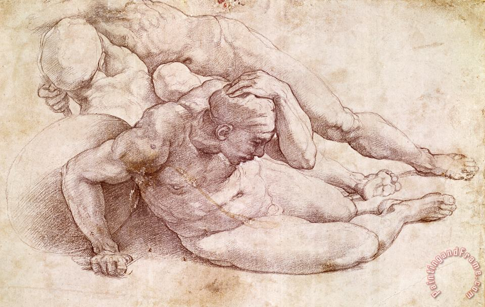 Study of Three Male Figures painting - Michelangelo Study of Three Male Figures Art Print