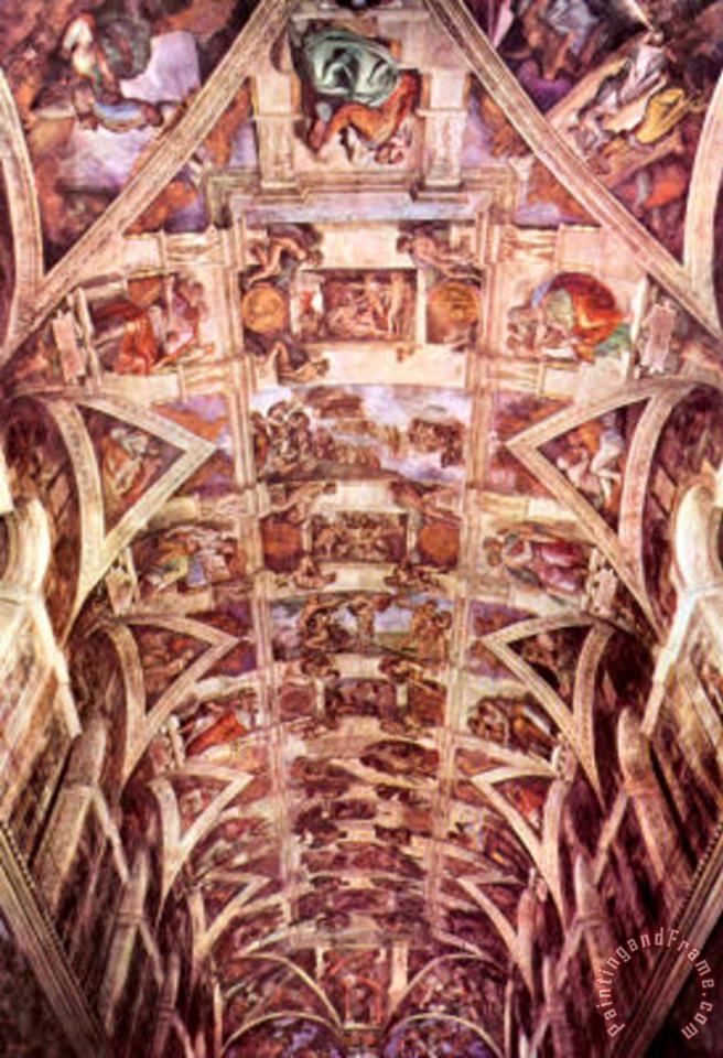 Ceiling Fresco of Creation in The Sistine Chapel General View Art Poster painting - Michelangelo Buonarroti Ceiling Fresco of Creation in The Sistine Chapel General View Art Poster Art Print