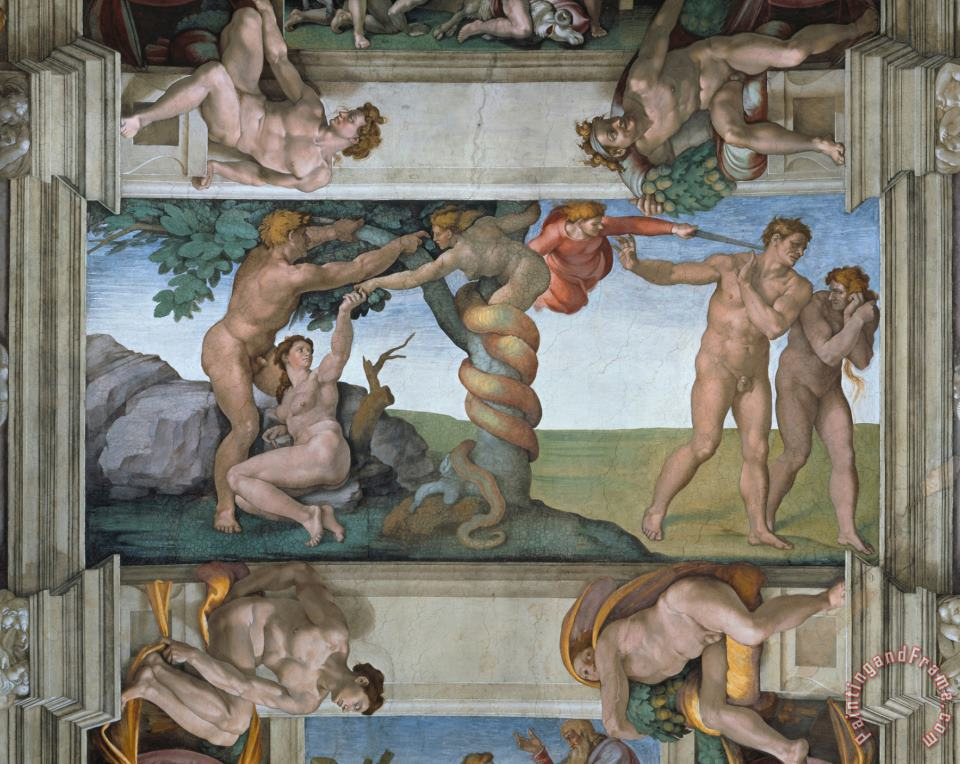 Fall of Mankind And Expulsion From Paradise Ceiling Painting in The Sistine Chapel painting - Michelangelo Buonarroti Fall of Mankind And Expulsion From Paradise Ceiling Painting in The Sistine Chapel Art Print