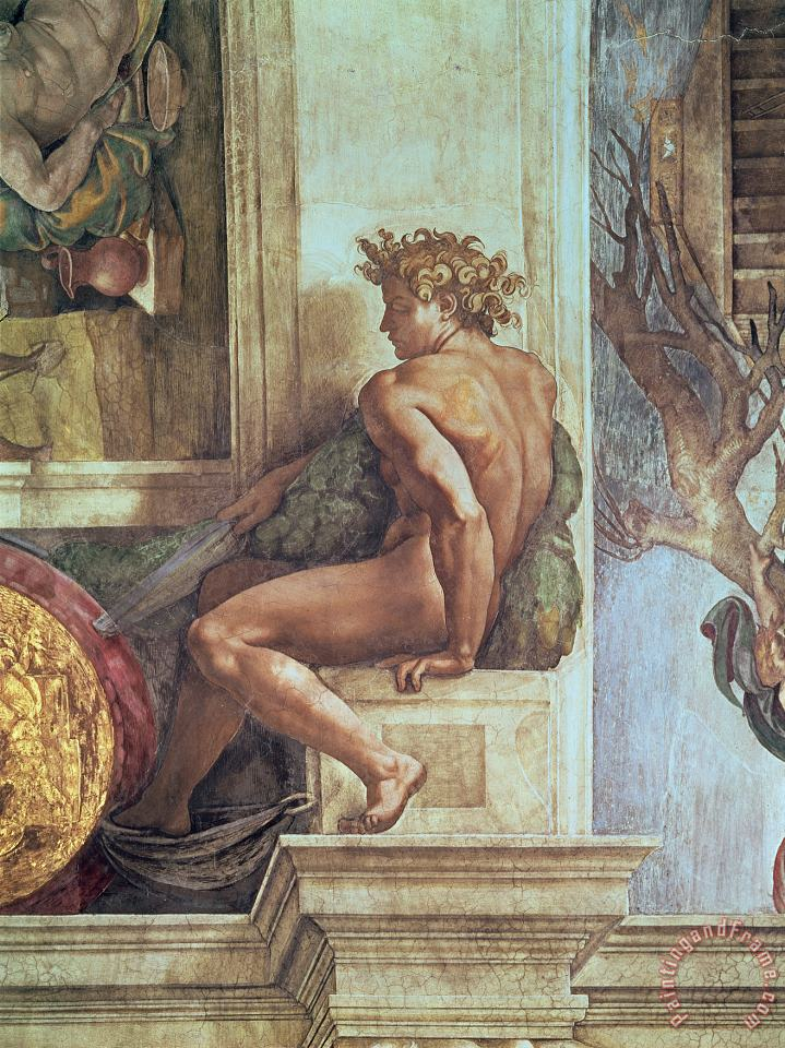 Ignudo From The Sistine Ceiling Pre Restoration painting - Michelangelo Buonarroti Ignudo From The Sistine Ceiling Pre Restoration Art Print