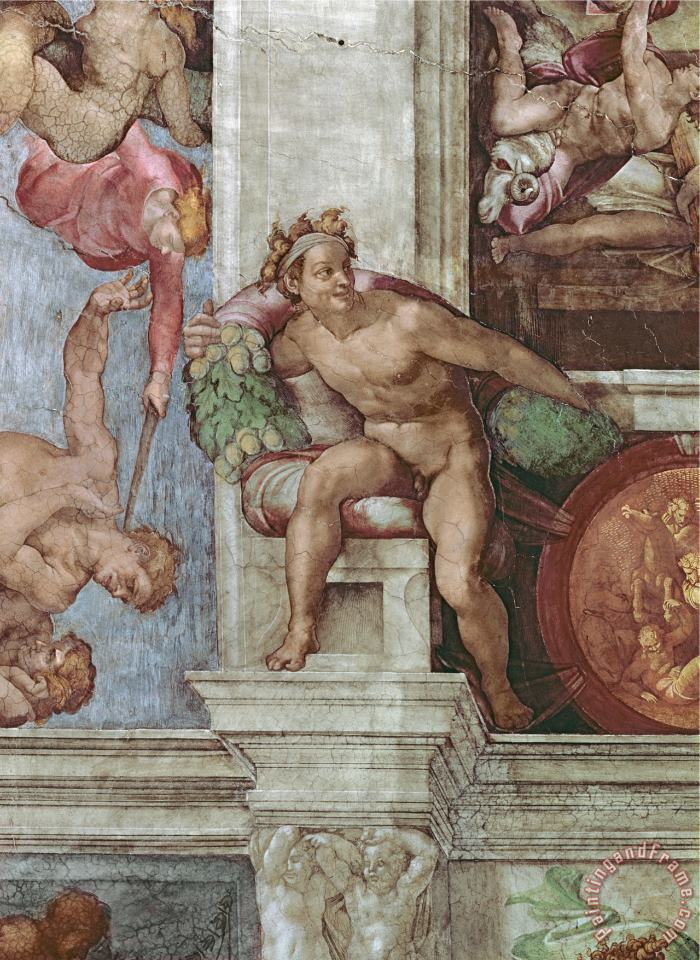 Michelangelo Buonarroti Sistine Chapel Ceiling 1508 12 Expulsion of Adam And Eve From The Garden of Eden Ignudo Art Print