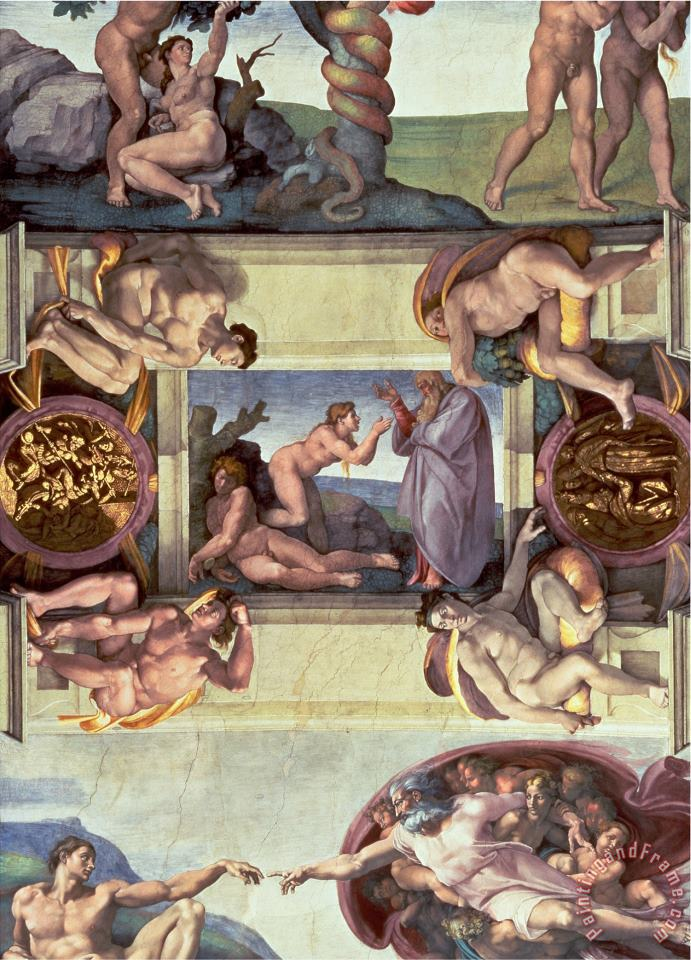 Sistine Chapel Ceiling 1508 12 The Creation of Eve 1510 Post Restoration painting - Michelangelo Buonarroti Sistine Chapel Ceiling 1508 12 The Creation of Eve 1510 Post Restoration Art Print
