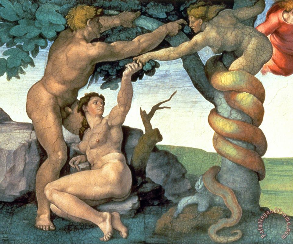 Sistine Chapel Ceiling 1508 12 The Fall of Man 1510 Post Restoration painting - Michelangelo Buonarroti Sistine Chapel Ceiling 1508 12 The Fall of Man 1510 Post Restoration Art Print