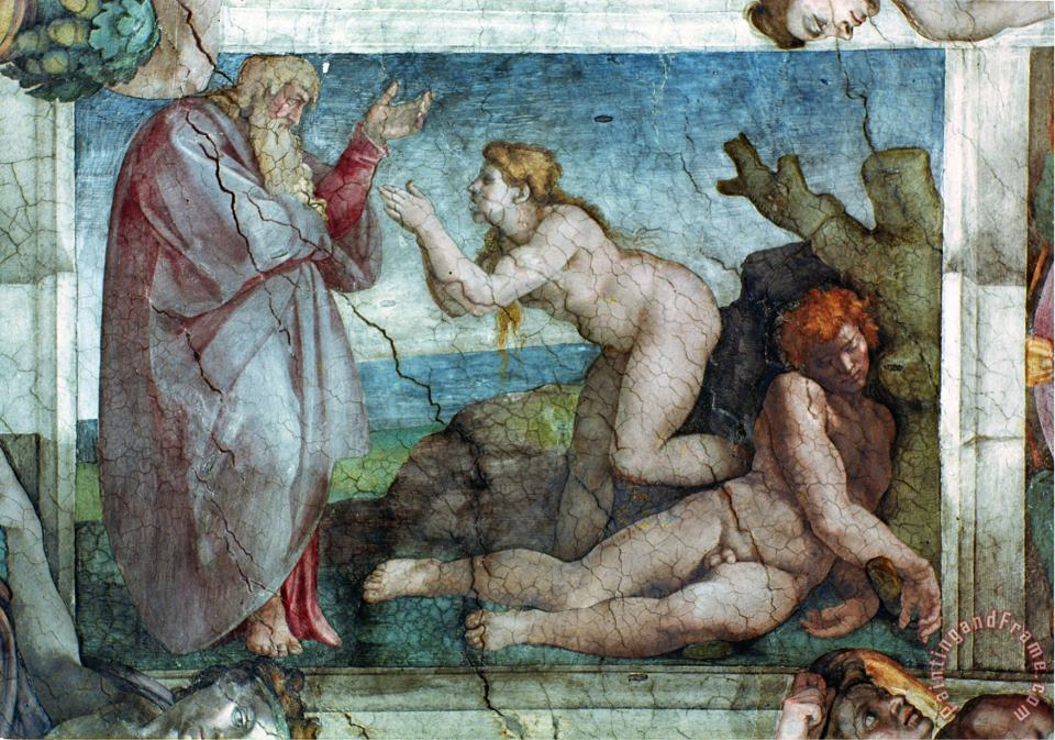 Sistine Chapel Ceiling Creation of Eve with Four Ignudi 1511 painting - Michelangelo Buonarroti Sistine Chapel Ceiling Creation of Eve with Four Ignudi 1511 Art Print