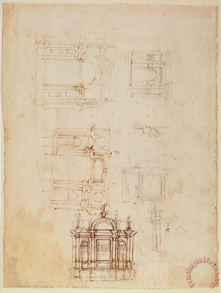 Studies for Architectural Composition in The Form of a Triumphal Arch C 1516 painting - Michelangelo Buonarroti Studies for Architectural Composition in The Form of a Triumphal Arch C 1516 Art Print