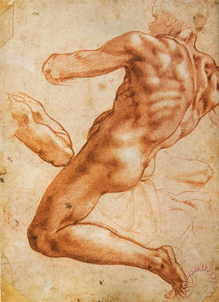 Study for an Ignudo painting - Michelangelo Buonarroti Study for an Ignudo Art Print