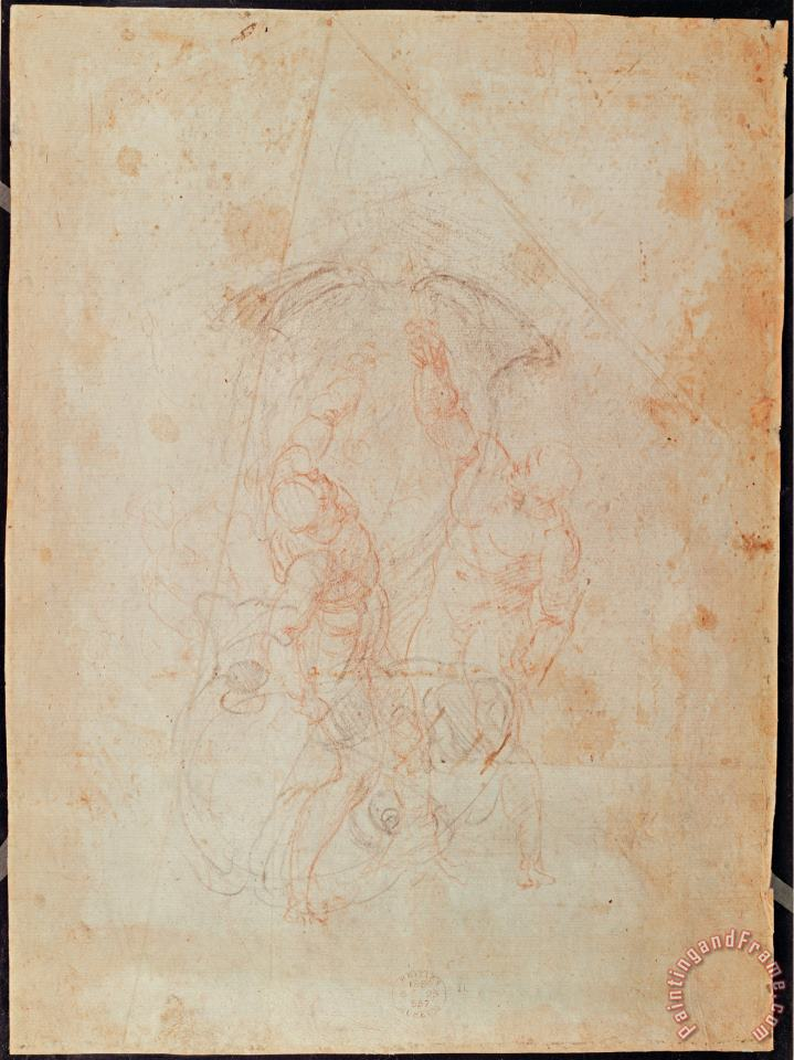 Michelangelo Buonarroti Study of Two Male Figures Red Chalk on Paper Verso Art Print