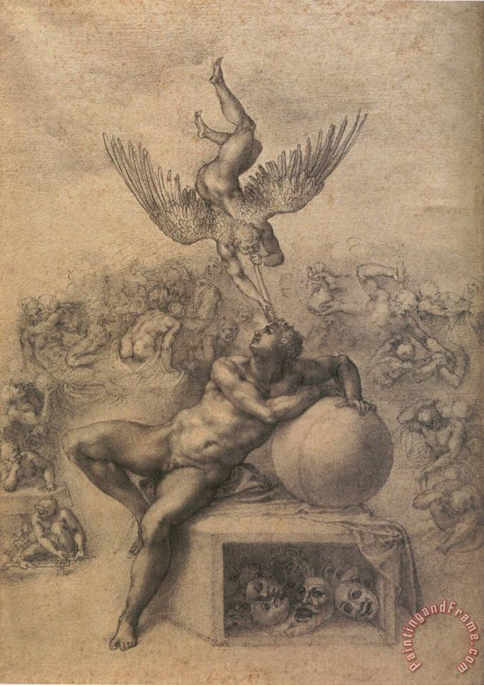 The Dream of Human Life painting - Michelangelo Buonarroti The Dream of Human Life Art Print