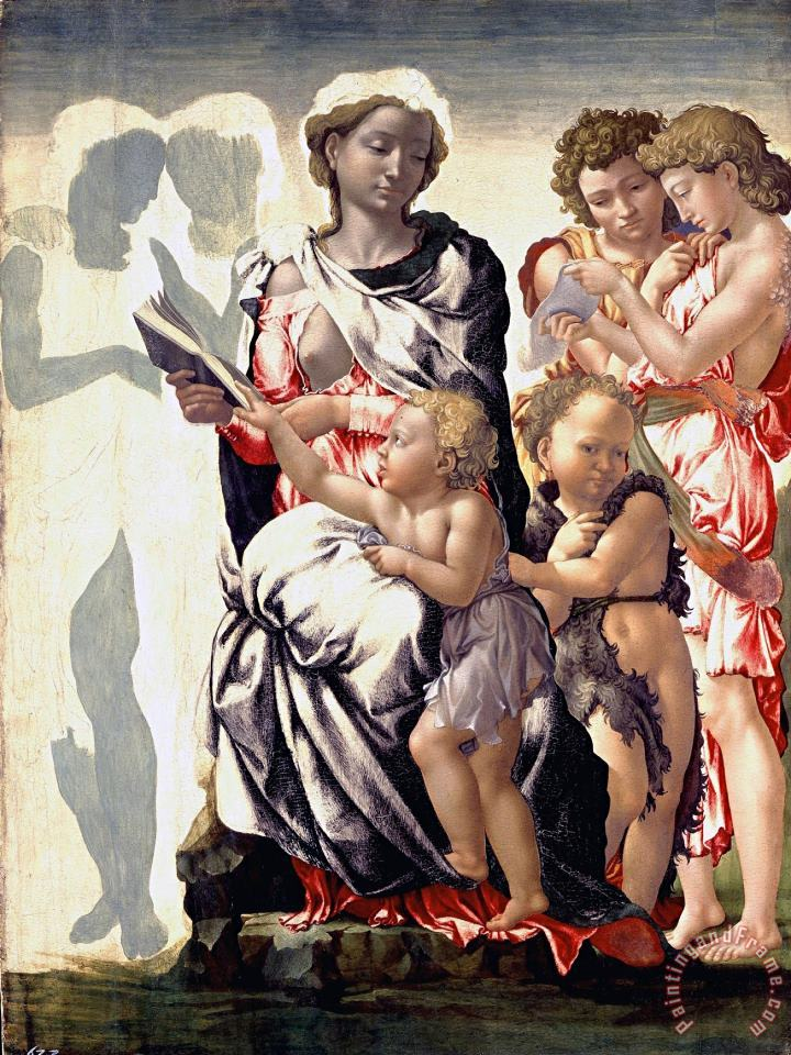 The Madonna And Child with Saint John And Angels painting - Michelangelo Buonarroti The Madonna And Child with Saint John And Angels Art Print