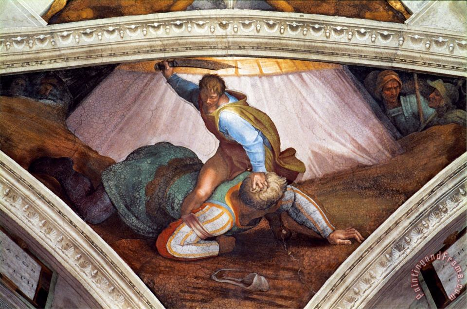 The Sistine Chapel Ceiling Frescos After Restoration David And Goliath painting - Michelangelo Buonarroti The Sistine Chapel Ceiling Frescos After Restoration David And Goliath Art Print