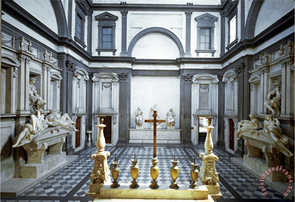 View of The Interior Showing The Medici Tombs of Lorenzo painting - Michelangelo Buonarroti View of The Interior Showing The Medici Tombs of Lorenzo Art Print
