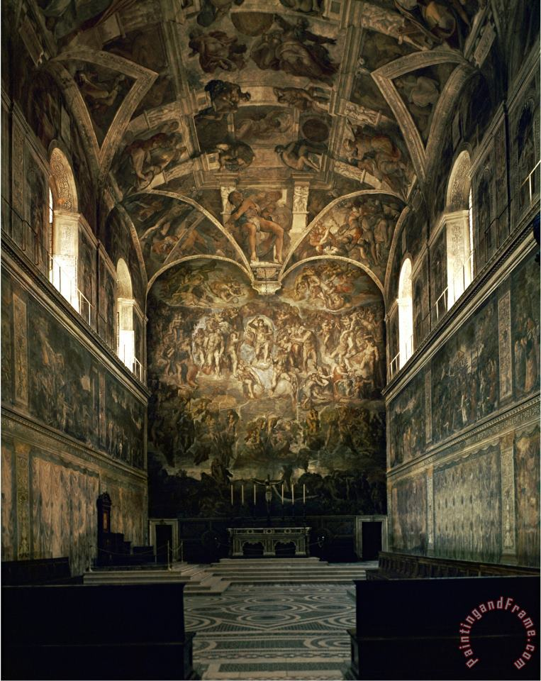 View of The Sistine Chapel Showing The Last Judgement And Part of The Ceiling Before Restoration painting - Michelangelo Buonarroti View of The Sistine Chapel Showing The Last Judgement And Part of The Ceiling Before Restoration Art Print