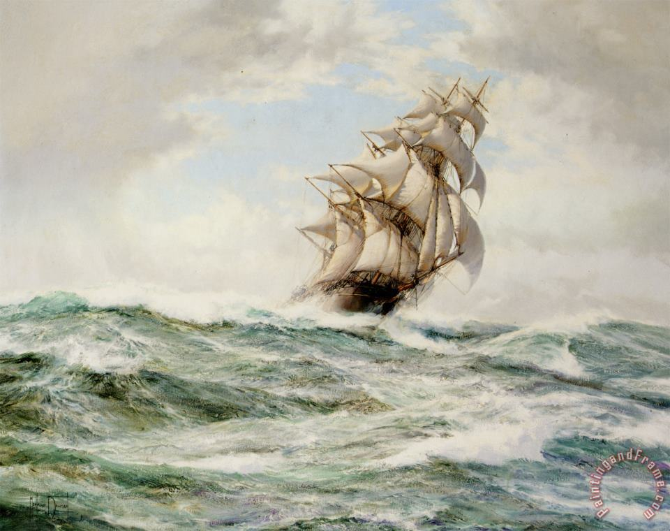 The Sweep Stakers Driving Hard painting - Montague Dawson The Sweep Stakers Driving Hard Art Print
