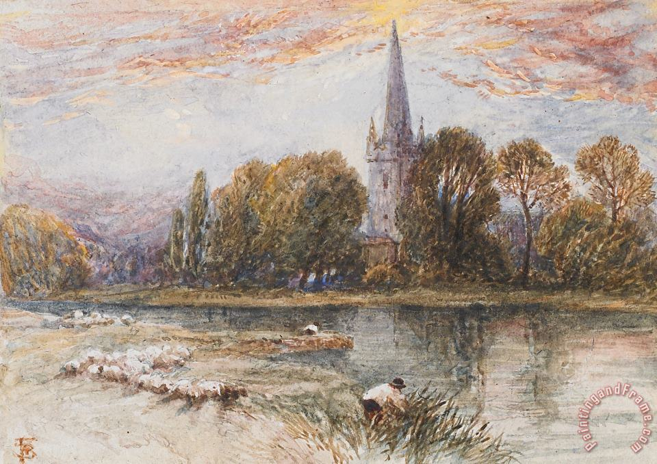 Holy Trinity Church On The Banks If The River Avon Stratford Upon Avon painting - Myles Birket Foster Holy Trinity Church On The Banks If The River Avon Stratford Upon Avon Art Print