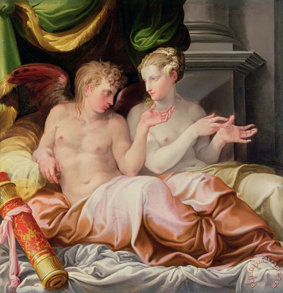 Eros and Psyche painting - Niccolo dell Abate Eros and Psyche Art Print