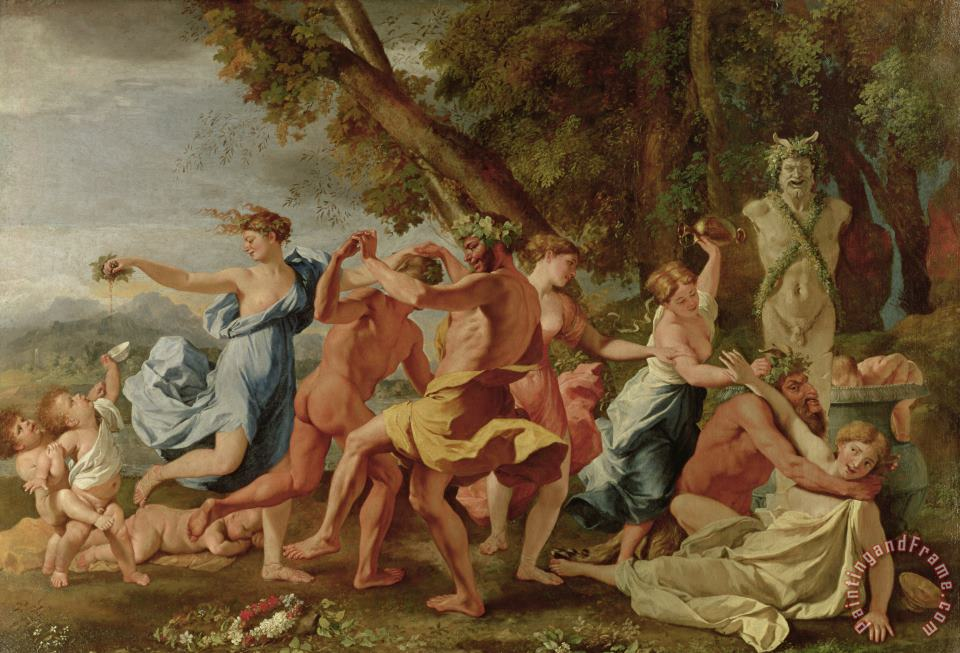 Bacchanal before a Herm painting - Nicolas Poussin Bacchanal before a Herm Art Print
