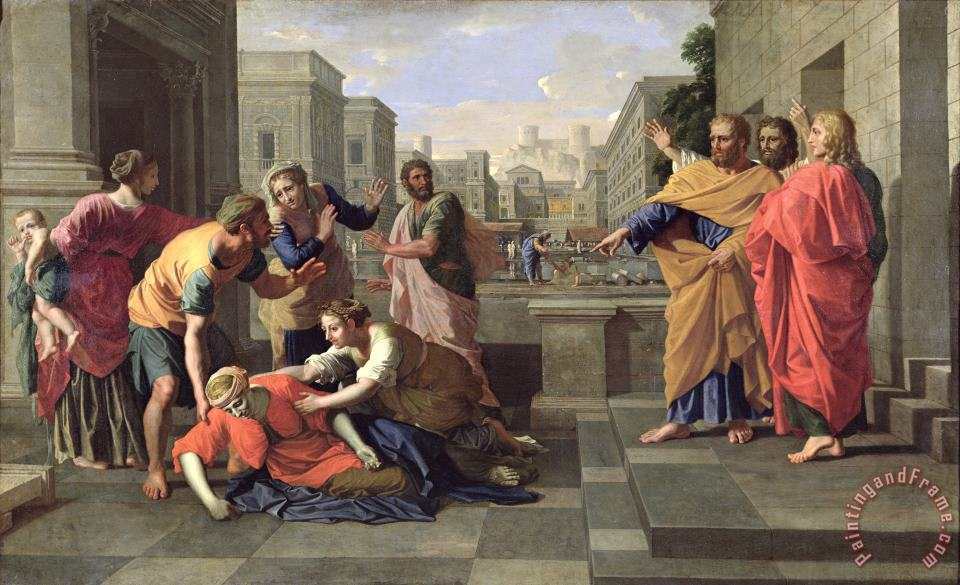 The Death of Sapphira painting - Nicolas Poussin The Death of Sapphira Art Print