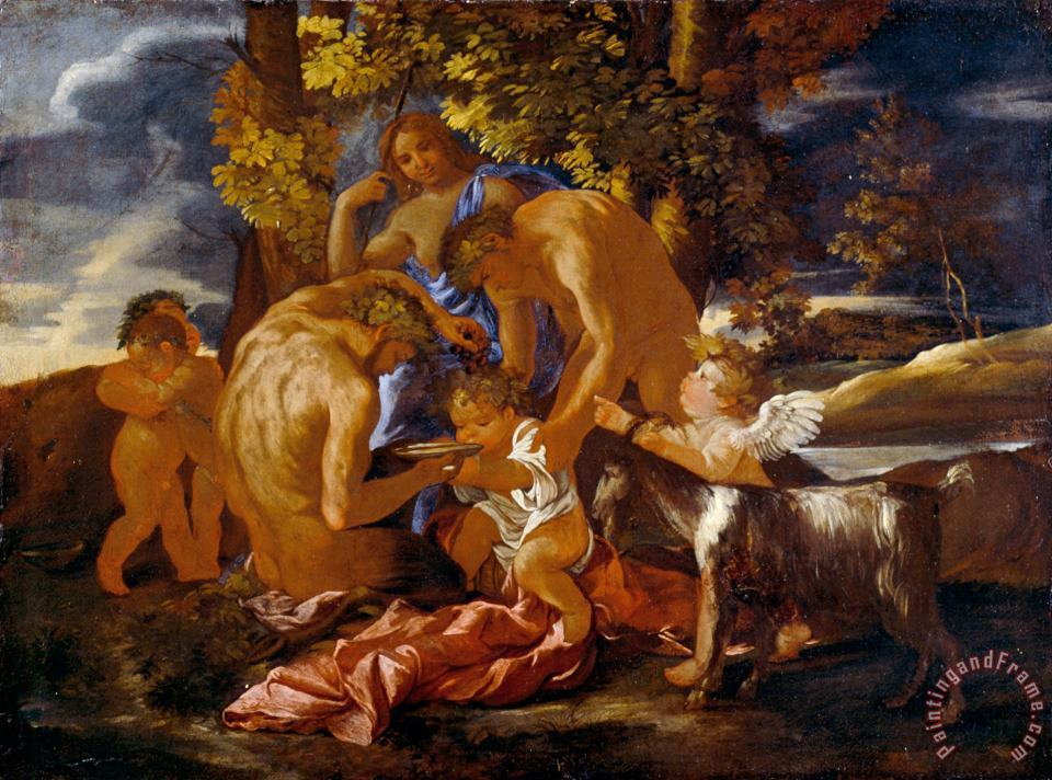 Nicolas Poussin The Nurture of Bacchus Art Print