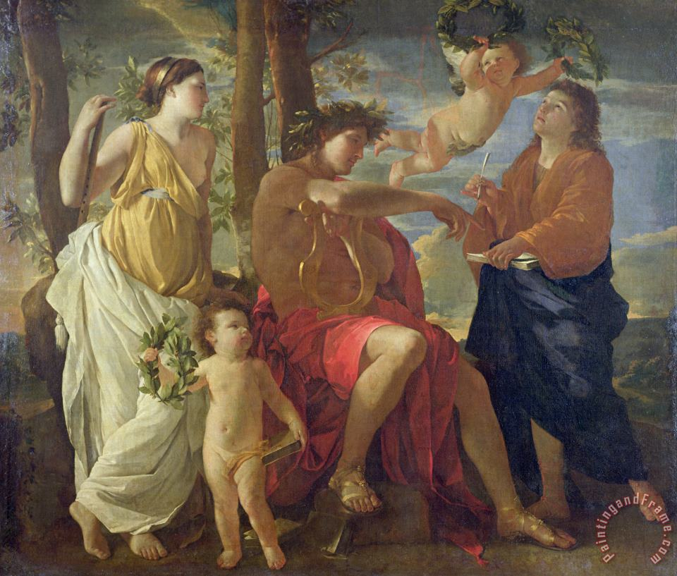 The Poets Inspiration painting - Nicolas Poussin The Poets Inspiration Art Print