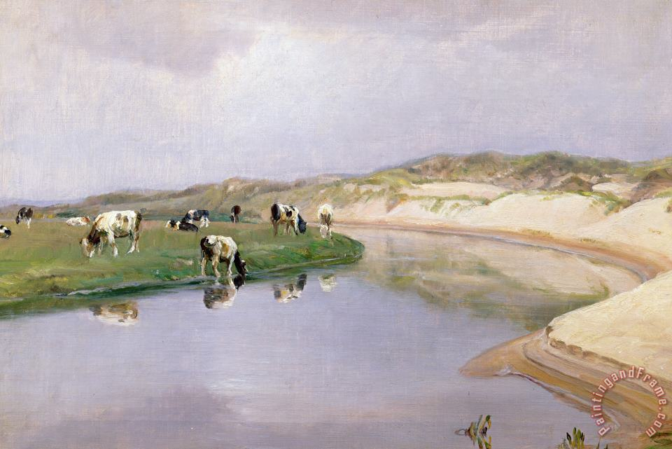 Niels Pedersen Mols Cows Grazing at Liver As North Jutland Art Print