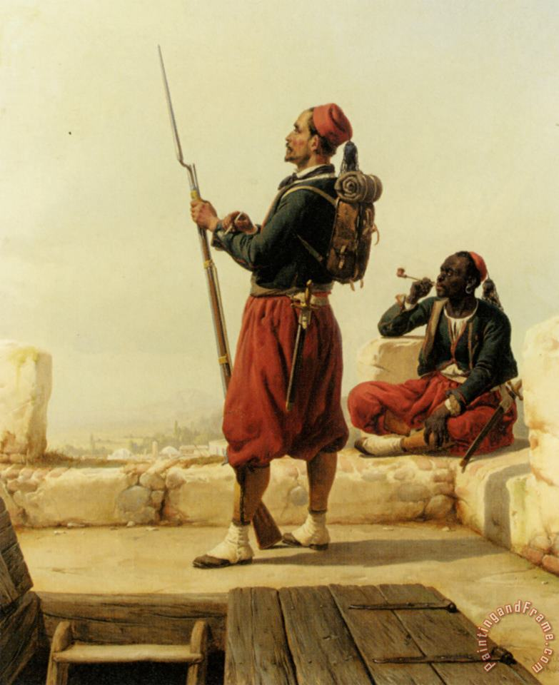 A Nubian And an Egyptian Guard in a Lookout Tower painting - Niels Simonsen A Nubian And an Egyptian Guard in a Lookout Tower Art Print