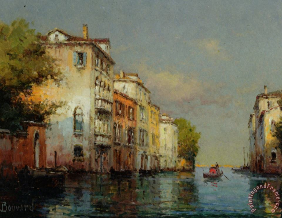Venetian Palazzo with Santa Maria Della Salute in The Background painting - Noel Bouvard Venetian Palazzo with Santa Maria Della Salute in The Background Art Print