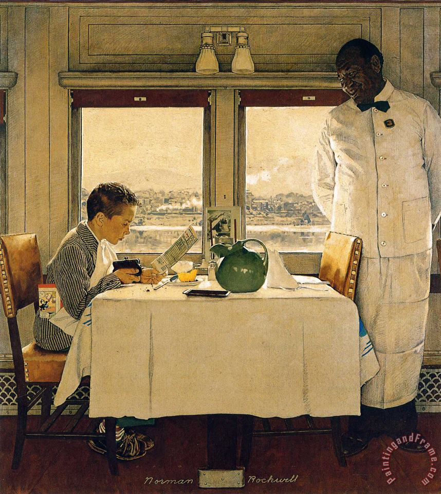 Boy in a Dining Car 1947 painting - Norman Rockwell Boy in a Dining Car 1947 Art Print