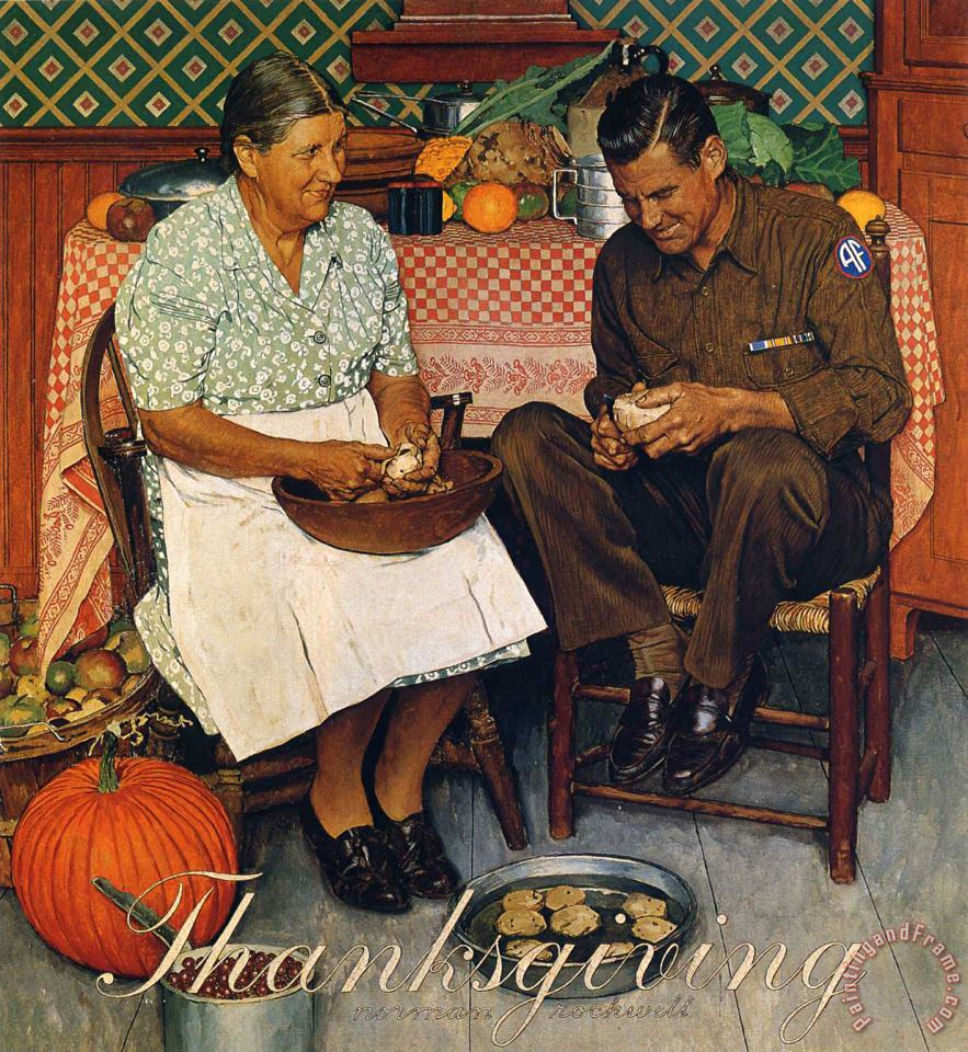 Thanksgiving Mother And Son Peeling Potatoes 1945 painting - Norman Rockwell Thanksgiving Mother And Son Peeling Potatoes 1945 Art Print