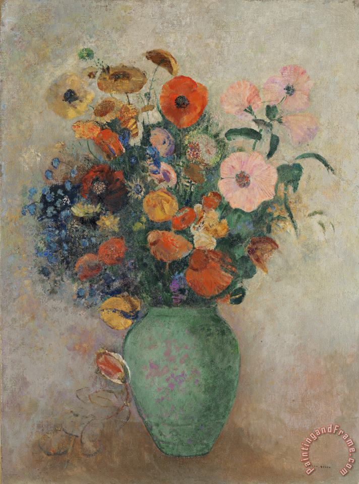 Bouquet of Flowers in a Green Vase painting - Odilon Redon Bouquet of Flowers in a Green Vase Art Print