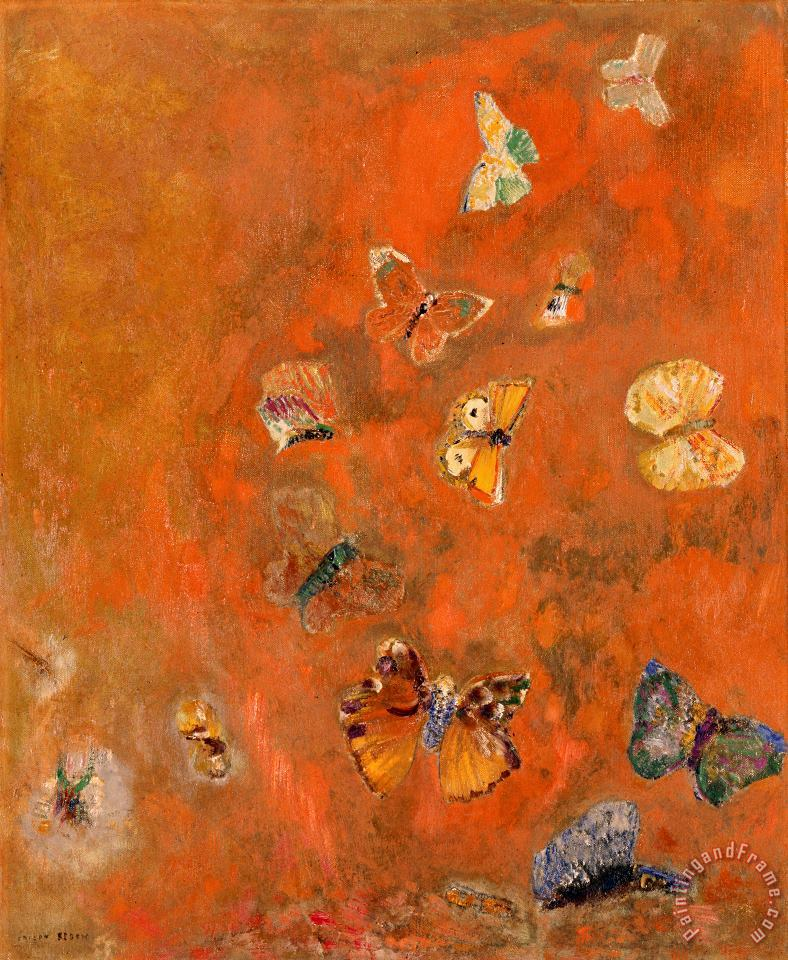Evocation of Butterflies painting - Odilon Redon Evocation of Butterflies Art Print