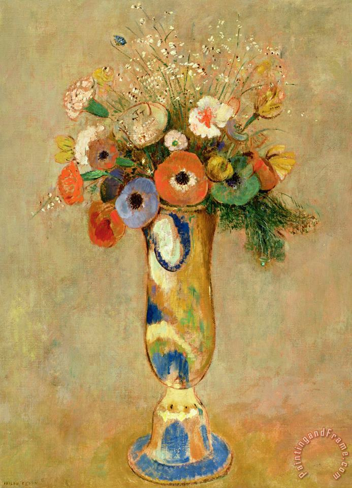Odilon Redon Flowers In A Painted Vase Art Print