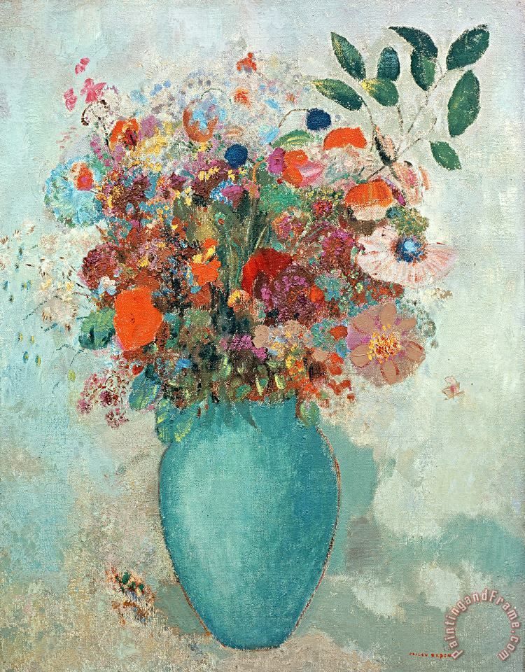 Flowers In A Turquoise Vase painting - Odilon Redon Flowers In A Turquoise Vase Art Print