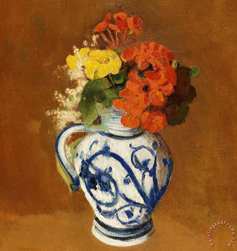Geraniums And Other Flowers In A Stoneware Vase painting - Odilon Redon Geraniums And Other Flowers In A Stoneware Vase Art Print