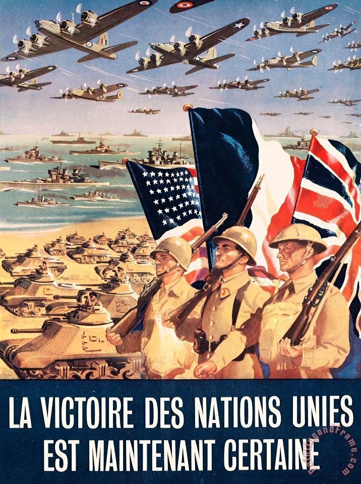 French Propaganda Poster Published In Algeria From World War II 1943 painting - Others French Propaganda Poster Published In Algeria From World War II 1943 Art Print