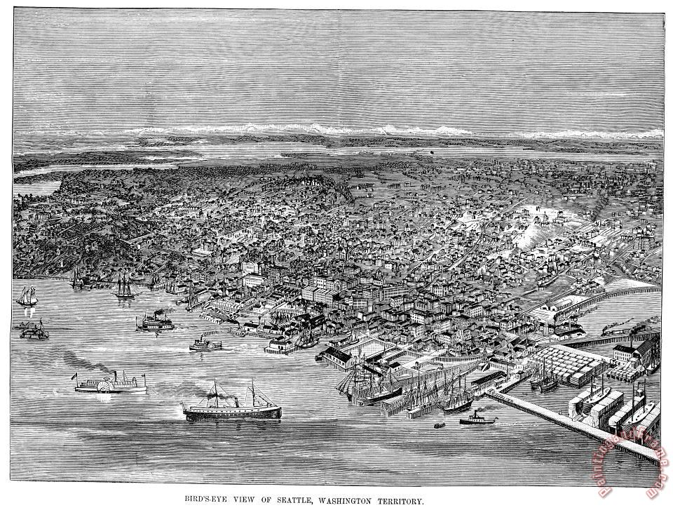 View Of Seattle, 1889 painting - Others View Of Seattle, 1889 Art Print