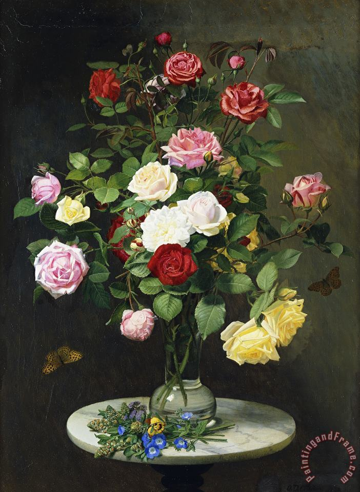 A Bouquet Of Roses In A Glass Vase By Wild Flowers On A Marble Table painting - Otto Didrik Ottesen A Bouquet Of Roses In A Glass Vase By Wild Flowers On A Marble Table Art Print