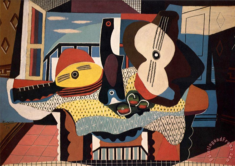 Pablo Picasso Mandolin And Guitar Art Print