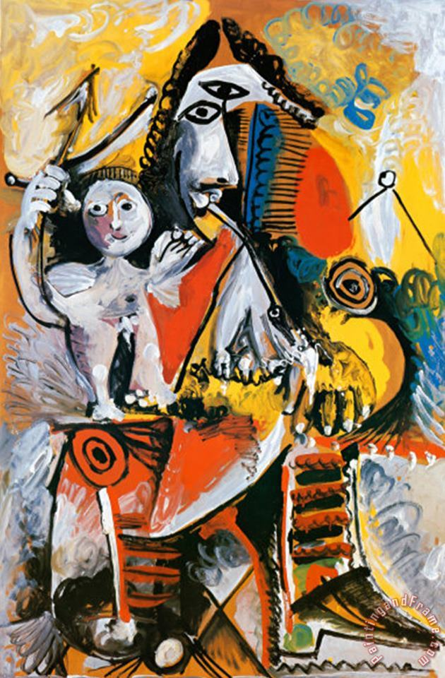 Musketeer And Cupid C 1969 painting - Pablo Picasso Musketeer And Cupid C 1969 Art Print